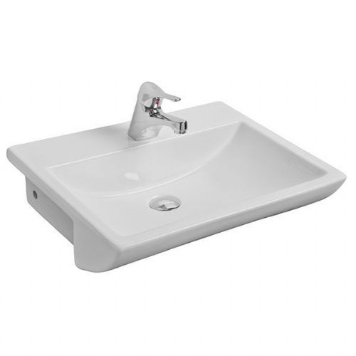 Kartell Aspect Semi Recessed Basin - 550mm Wide - 1 Tap Hole - White